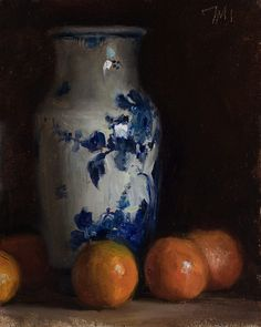 Daily paintings | Clementines and Delft vase | Postcard from Provence