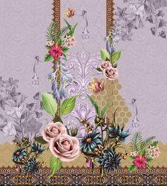Flower Art Images, Border Embroidery Designs, Lawn Suits, Design Seeds, Color Effect, Buckets, Kurtis, Textile Design, Lehenga