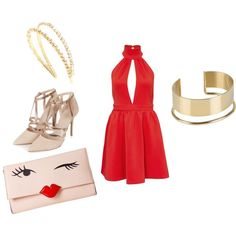 Red by ingrid-barcellos on Polyvore featuring moda, Topshop, Kate Spade, By Malene Birger and Miu Miu