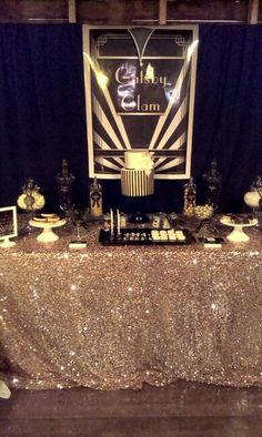 Gatsby Glam Black & Gold Dessert Table x