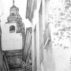 CAMINO A LA GIRALDA lápiz sobre papel | 30x42