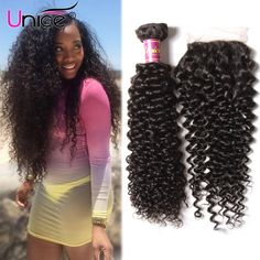 New Arrival Peruvian Virgin Hair With Closure Free Shipping Unice Lace Closure With Bundles Peruvian Curly Hair With Closure