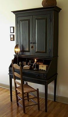 FARMHOUSE – INTERIOR – vintage early american decor is perfect for a farmhouse room like this antique writing desk.