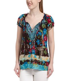Another great find on #zulily! Blue & Black Floral Sequin Notch Neck Top by Chaudry #zulilyfinds