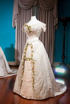 Wedding dress worn by Princess Mary of Teck for her marriage to future King George V in 1893. Via Collection, Kensington Palace.