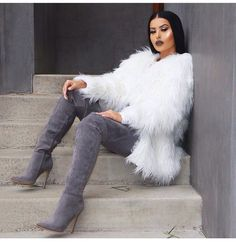 Step into action with our timeless classic Jasmin genuine suede leather boots. These sleek and chic sky-high boots feature a stiletto heel and a pointy tip. Boho Fashion, Winter Fashion, Fashion Outfits, Womens Fashion, Mode Outfits, Winter Outfits, Sexy Stiefel, Moda Chic, Fashion Killa