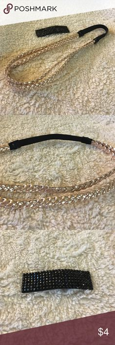 Rose gold headband and shiny hair clip New, without tags, never worn, strechy headband, sparkly hair clip, great for casual or formal events Accessories Hair Accessories