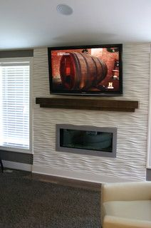 Modern Fireplace Cool Wavy Tile Linear Fireplace With A