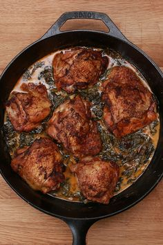 Creamy Lemon Butter Chicken Here's what you need: 6 bone-in, skin-on chicken thighs 1 Tbsp. paprika Salt and Pepper to taste 3 Tbsp. unsalted butter 3 cloves of garlic cup heavy cream cup Parmesan 1 lemon 2 cups baby spinach I Love Food, Good Food, Yummy Food, Lemon Butter Chicken, Lemon Chicken Thighs, Creamy Lemon Chicken, Creamy Spinach, Great Recipes, Favorite Recipes