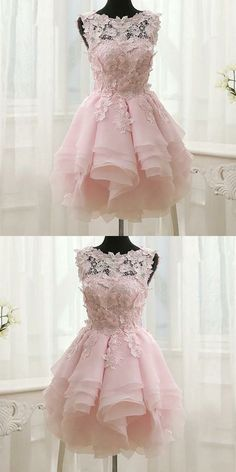 Pink Appliques Organza Tiered Short Homecoming Dress,Simple Homecoming Dresses,Cheap Prom Dress,Form on Luulla Simple Homecoming Dresses, Simple Prom Dress, Mermaid Prom Dresses, Cheap Prom Dresses, Sexy Dresses, Short Pink Prom Dresses, Long Dresses, Summer Dresses, Ivory Prom Dresses