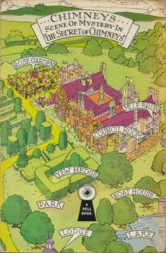Map of Chimneys from The Secret of Chimneys by Agatha Christie in a Dell edition Agatha Christie, Best Crime Novels, Mystery Novels, The Secret Of Chimneys, Miss Marple, Hercule Poirot, Book Nooks, Clash Of Clans, Game Design