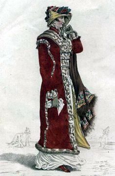 31-10-11 (1812) A scarlet Merino cloth pelisse, lined with straw coloured sarsnet, trimmed with light coloured spotted fur, and attached with loops of black silk cordon and rich frog tassels; the broad fur in front, forming a tippet, pointed at the back. A narrow fur passes from the top of the sleeve, is brought down the side seams, and relieved by fastenings of black silk cordon; four loops with frogs ornament the shoulders and cuffs; plain standing up collar tied with cordon: a fine…