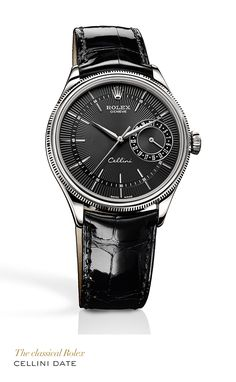 Rolex Cellini Date 39 mm in 18 ct white gold with with double bezel, domed and fluted, black Guilloche dial and black leather strap bracelet. #RolexOfficial