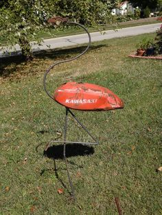 Found Object Metal Flamingo Yard Sculpture by AlmostExactlyDesigns, $157.00---oooh! I love this!!!!!!!