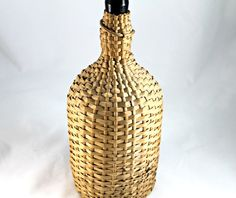 Vintage old wine bottle demijohn in wicker by TheVintageFunkery, $47.00
