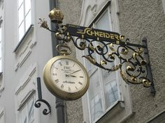 Salzburg - Watch Store Sign Storefront Signs, Pub Signs, Boutique Interior, Business Signs, Advertising Signs, Store Signs, Hanging Signs, Clock, Display