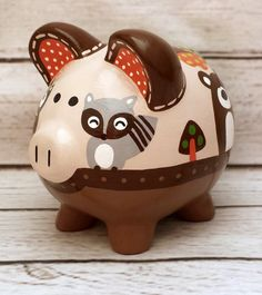 Foxy and Friends artisan hand painted ceramic personalized Piggly Wiggly, Hand Painted Ceramics, Peppa Pig, Vintage Wood, Decoupage, Xmas, Baby Shower, Piggy Banks, Handmade Gifts