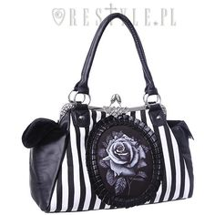 "Cameo bag ""BLACK ROSE"" Black and White Stripes, gothic handbag ($40) ❤ liked on Polyvore featuring bags, handbags, black and white striped handbag, stripe handbag, handbag purse, gothic handbags and black and white handbags"