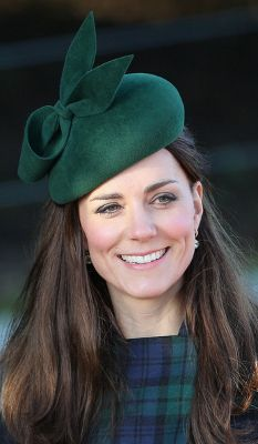 The Duchess of Cambridge, December 25, 2013 in Gina Foster | The Royal Hats Blog