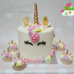 Kindertaarten meisjes -  #unicorntaart #eenhoorntaart Juffrouw taart winsum groningen www.juffrouwtaart.nl Rainbow Unicorn, Birthday Cake, Unicorn Cakes, Desserts, Party Ideas, Food, Flower, Cake Ideas, Birthday Cakes