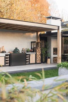 Outdoor fire pit seating Outdoor Kitchen Ideas & Design Inspirations Our Stonehouse is located up in Outdoor Bbq Kitchen, Outdoor Kitchen Design, Patio Design, Garden Design, Outdoor Kitchens, Big Green Egg Outdoor Kitchen, Rustic Outdoor, Landscaping Design, Garden Landscaping