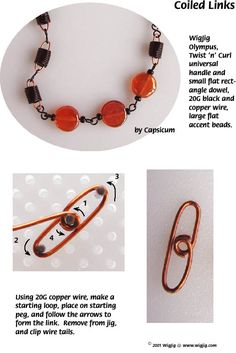 Coiled Links Wire and Beads Necklace Jewelry Making Project made with WigJig jewelry tools and jewelry supplies.