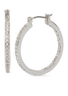 Kenneth Cole Women Silver-Tone Crystal Small Hoop Earrings - Crystal - One Size