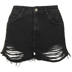 TopShop Moto Ripped Mom Shorts ($43) ❤ liked on Polyvore featuring shorts, short, washed black, short shorts, black shorts, black high waisted shorts, denim short shorts and black jean shorts
