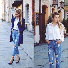 White Blouse+Hole Jeans
