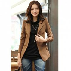 $22.48 Brown Stylish Slimming Fit Double Breasted Puff Long Sleeve Suit Coat for Women