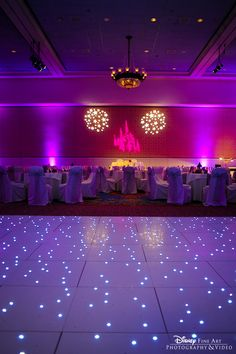 Light up your reception with an illuminated dance floor #Disney