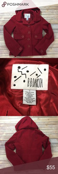 "BB Dakota Red Hooded Coat BB Dakota Red Hooded Pea Coat. EUC. Hood is detachable. Measures pit to pit 18""/ length 22.5"" BB Dakota Jackets & Coats"