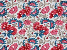 The fabric is of hand spun cotton and block printed in originally brownish black golden brown, red, rose and pale pink with pencilled details in blue. The print can be dated to the mid 18th century. It would have been used for clothing and was probably manufactured in Holland or England who had close mercantile connections to Norway (in the 18th century a Danish province).