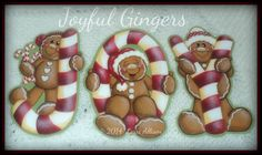 Christmas ornaments gingerbread Joy pattern por LorriAllisenDesigns