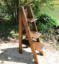 Rustic A-Frame Ladder Type Wood Shelves Rustic by SereneVillage
