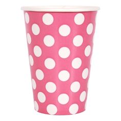 Hot Pink Dots - 12oz Cups - 6 count