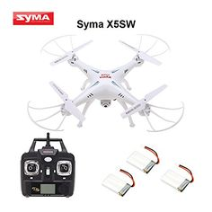 Syma 4 Channel Remote Controlled Quadcopter with HD Camera for Real Time Video Transmission, 31 x 31 x White -- See this great product. Remote Control Drone, Drone For Sale, Activities For Boys, Drone Quadcopter, Drones, Drone Technology, 4 Channel, Video Camera, Gifts For Boys