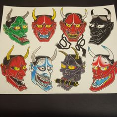Oni Mask Tattoo, Japanese Watercolor, Japanese Mask, Asian Tattoos, Masks Art, Irezumi, Japanese Design, Body Art Tattoos, Art Tutorials