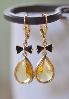 Yellow Teardrop and Black Bow Jewel Drop Earrings