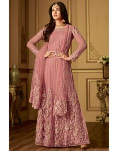 Sonal chauhan pink partywear anarkali suit online which is crafted from net fabric with exclusive embroidery and stone work. This stunning designer anarkali suit comes with net bottom, santoon inner and chiffon dupatta. Anarkali Dress, Anarkali Suits, Pakistani Dresses, Long Anarkali, Indian Dresses, Indian Outfits, Pakistani Sharara, Hijab Gown, Lehenga Gown