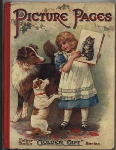 PICTURE PAGES little girls show a picture of a cat to two dogs