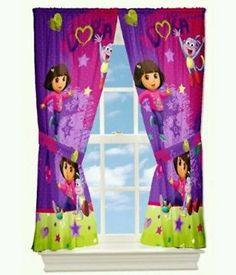New Dora The Explorer Fiesta Time Window Panels Curtains 82x63 + 2 Tiebacks