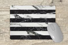 marble mouse pad black and white marble stripes Black And White Marble, Marble Print, Round Corner, Vivid Colors, Surfboard, Stripes, This Or That Questions, Design, Vibrant Colors