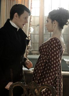 Matt Smith as Mr. Collins and Lily James as Elizabeth Bennet in Pride and…