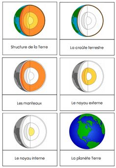 cartes de nomenclature : la structure de la Terre – La classe d'Eowin Nomenclature Maps: The Structure of the Earth Science Montessori, Montessori Education, Kindergarten Science, Montessori Materials, Elementary Science, Middle School Science, Teaching Science, Science For Kids, Science And Nature