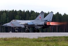 A Mig-31BM takes off with full afterburners.
