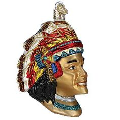 """Indian Chief Christmas Ornament 24130 Merck Family's Old World Christmas Introduced 2011 Measures approximately 4 1/4"""" Mouth blown, hand painted, glass Christmas ornament from"""