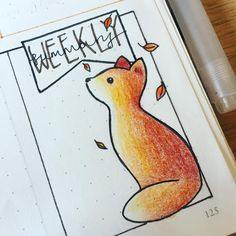 Why hello there cutie! Say hello to my little #fox friend in this week's summary section. . . . .#bulletjournal #bulletjournaling #bulletjournaljunkies #bujo #bujojunkies #november #fall #foxes #drawing