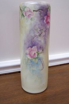 Image Detail for - Lovely Cylinder Vienna Austria Vase Hand Painted with Large Pink from ...
