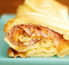 Baked ham & Cheese Omelet Roll....  I would add some veggies....